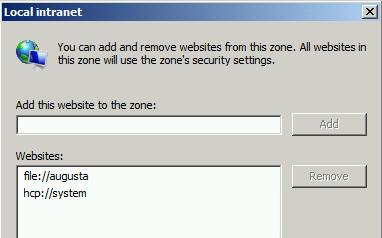 Added Intranet Zone